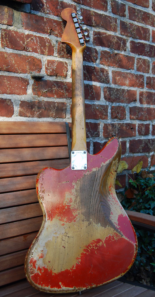 fender jaguar 1964 blonde with red overspray - back