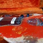 fender jaguar 1964 blonde with red overspray - ash body detail