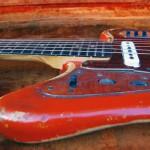 fender jaguar 1964 blonde with red overspray - neck joint