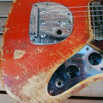 fender jaguar 1964 blonde with red overspray - control plate