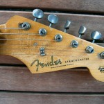 fender stratocaster 1957 blonde refinished - headstock with replacement logo