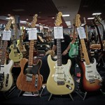 vintage guitar show oldenburg 2013 - fender telecaster 1969 with bigsby, fender telecaster 1952 refinished, fender stratocaster 1960 refinished, fender stratocaster 1959, gibson les paul custom 1958